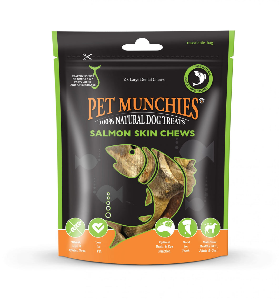 Pet Munchies 100% Natural Large Salmon Skin Chews
