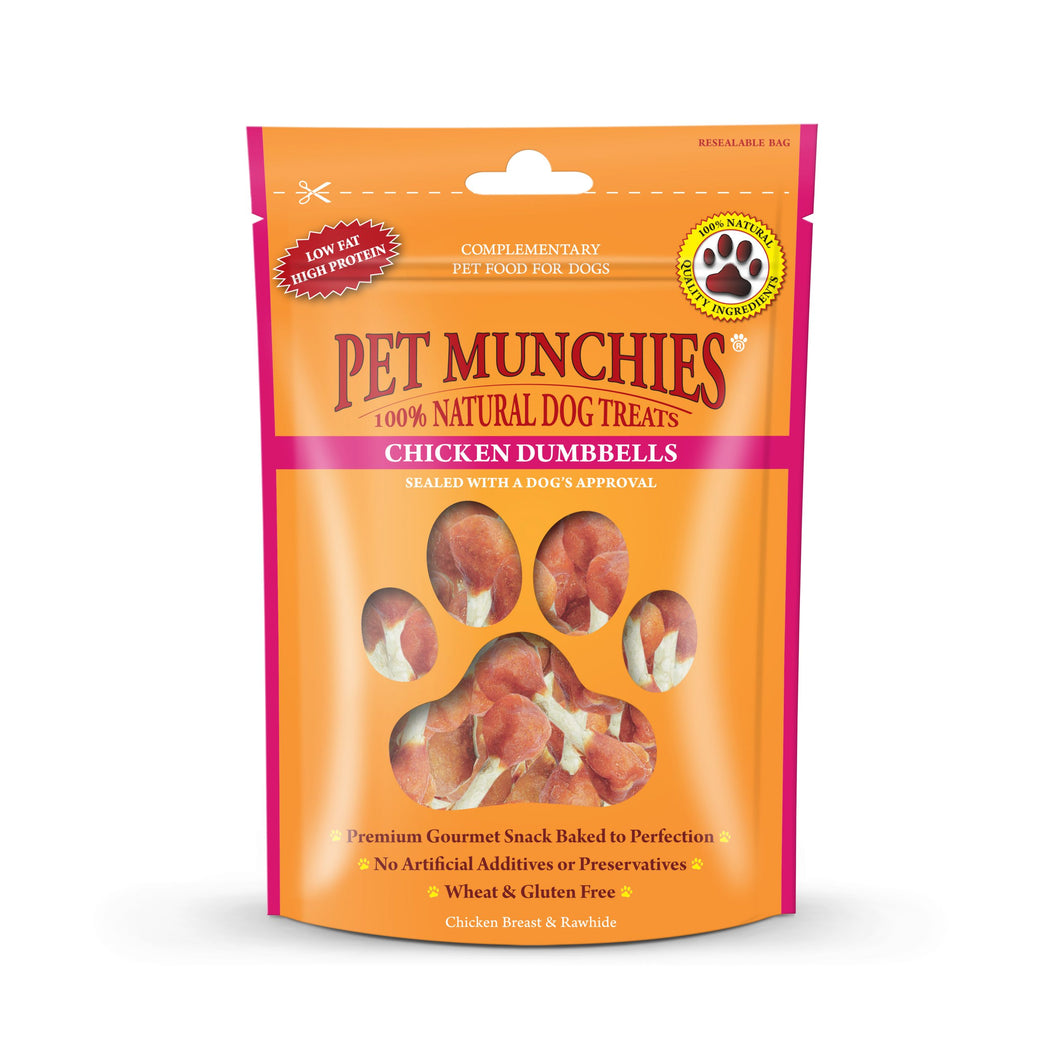 Pet Munchies 100% Natural Real Chicken & Rawhide Dumbbells