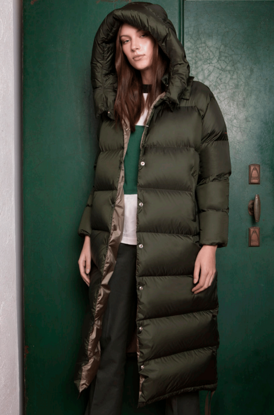 MUSTANG EXTRA-LONG JACKET - SNAP FRONT - DARK GREEN