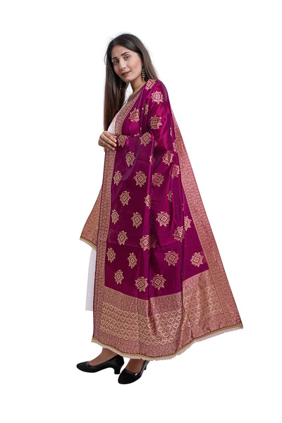 Unffold Silk Blended Majenta Pink & Gold beautiful designed work Dupatta (36 inches) for Women