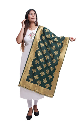 Unffold Silk Blended Dark Green beautiful designed work Dupatta (24 inches) for Women