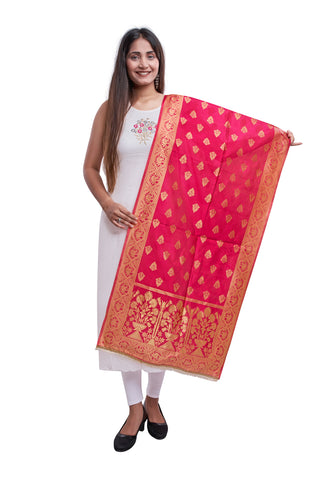 Unffold Silk Blended Pink & Gold beautiful designed work Dupatta (24 inches) for Women