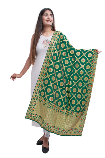 Unffold Silk Blended Green, Red & Golden beautiful designed work Dupatta (36 inches) for Women