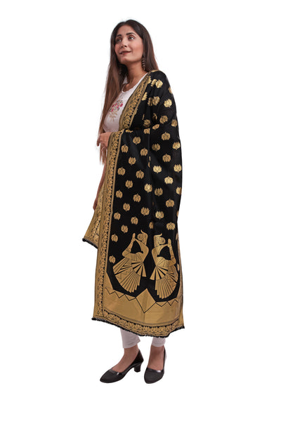 Unffold Silk Blended Black & Gold (Art pose) beautiful designed work Dupatta(24 inches) for Women