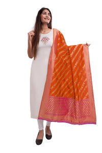 Unffold Art Silk Blended Orange & Pink beautiful designed work Dupatta (36 inches) for Women