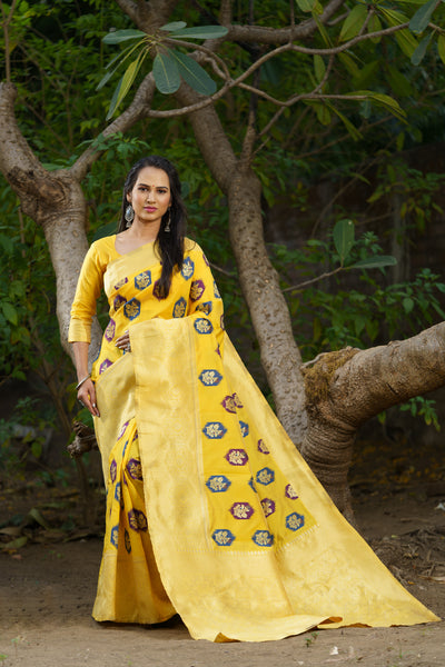 Unffold Soft Silk Banarasi Saree with Zari Woven Pallu - Yellow Butta