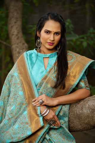 Unffold Soft Silk Banarasi Saree with Zari Woven Pallu - Sky Blue Golden