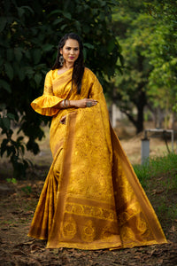 Unffold Soft Silk Banarasi Saree with Zari Woven Pallu - Amber Gold