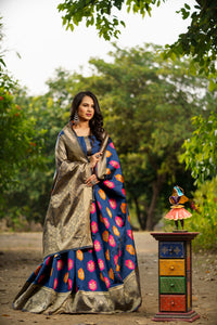 Unffold Soft Silk Banarasi Saree with Zari Woven Pallu - Dark Blue Gold