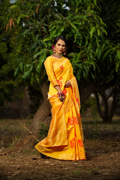 Unffold Soft Silk Banarasi Saree with Zari Woven Pallu - Orange Red