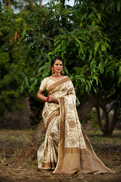 Unffold Soft Raw Silk Saree with Zari Woven Pallu - Off white Brown