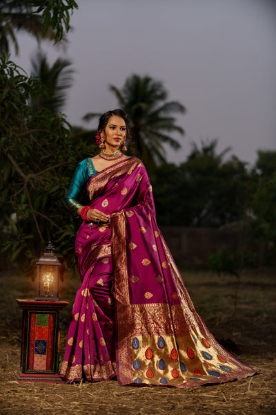 Unffold Soft Silk Banarasi Saree with Zari Woven Pallu - Maroon Green Golden