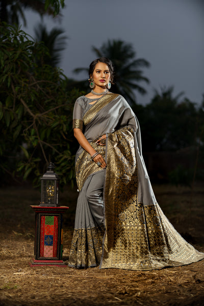 Unffold Soft Silk Banarasi Saree with Zari Woven Pallu - Grey Golden