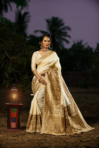 Unffold Soft Silk Banarasi Saree with Zari Woven Pallu - Off white Brown Golden