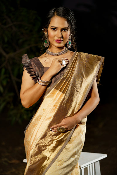 Unffold Soft Silk Banarasi Saree with Zari Woven Pallu - Peach Gold Brown