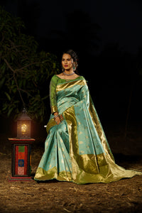 Unffold Soft Silk Banarasi Saree with Zari Woven Pallu - Lite and Dark Green Gold
