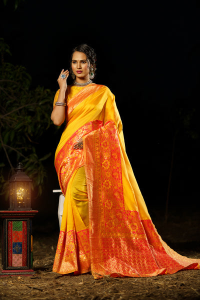 Unffold Soft Silk Banarasi Saree with Zari Woven Pallu - Orange Yellow Gold