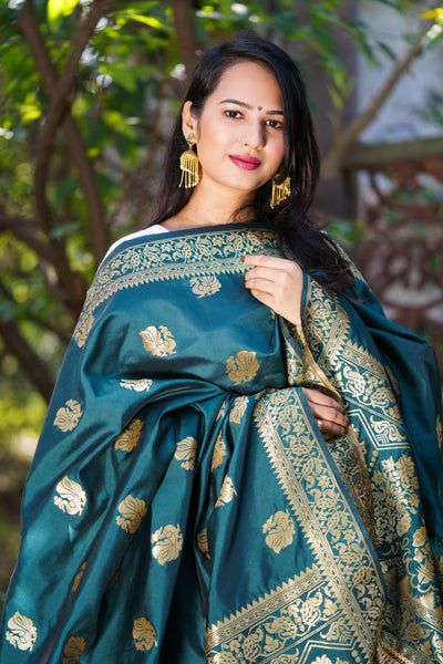 Unffold Silk Blended  Dark Green - Golden Silk Jari Blended beautiful designed work Dupatta (48 inches) for Women