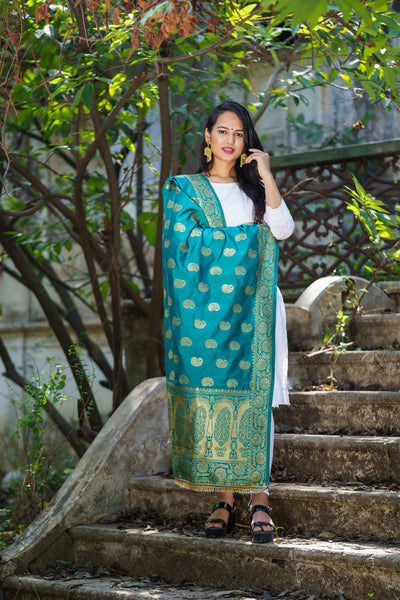 Unffold Silk & Jari Green Golden beautiful designed work Dupatta (48 inches) for Women - Mango Design