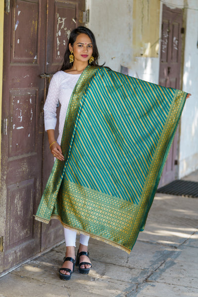 Unffold Silk Blended Teal beautifully designed with golden work Dupatta (36 inches) for Women