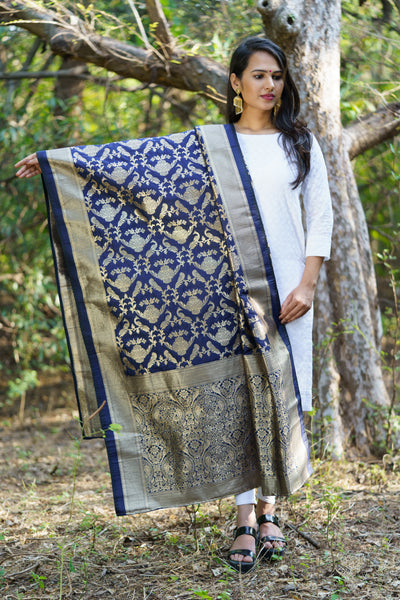 Unffold Silk & Jari Blended Blue White beautiful designed work Dupatta (48 inches) for Women - Peacock Design