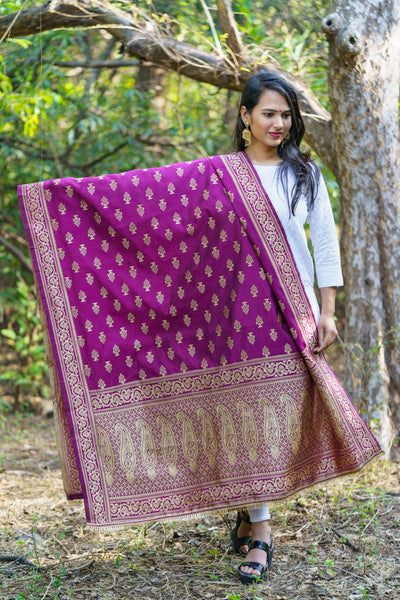 Unffold Silk & Jari Blended Golden Mulberry beautiful designed work Dupatta (48 inches) for Women