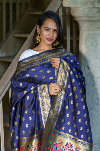Unffold Silk & Jari Blended Gold Blue beautiful designed work Dupatta (48 inches) for Women - Peacock Design
