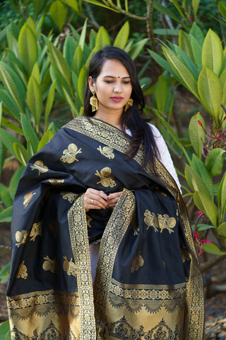 Unffold Silk Blended Black & Gold beautiful designed work Dupatta(36 inches) for Women