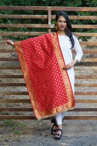 Unffold Silk Blended Red & Gold beautiful designed work Dupatta (24 inches) for Women