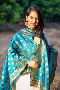 Unffold Silk Blended Teal Blue & Gold beautiful designed work Dupatta (24 inches) for Women