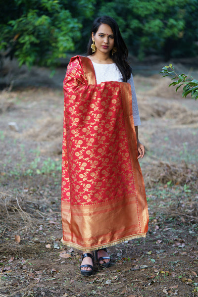 Unffold Silk Blended Red & Gold beautiful designed work Dupatta(36 inches) for Women