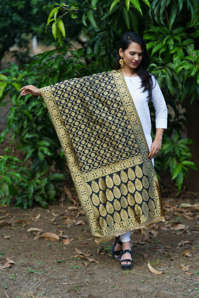 Unffold Silk Blended  Black & Gold beautiful designed work Dupatta (24 inches) for Women