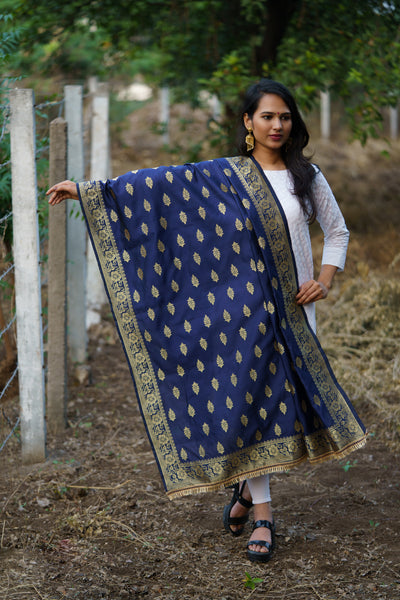 Unffold Silk Blended Golden Blue Jari Blended beautiful designed work Dupatta (48 inches) for Women - Leaf Pattern