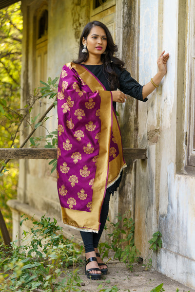 Unffold Silk Blended Magenta &  Gold beautiful designed work Dupatta (24 inches) for Women
