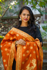 Unffold Silk Blended Orange Golden (Art pose) beautiful designed work Dupatta (24 inches) for Women