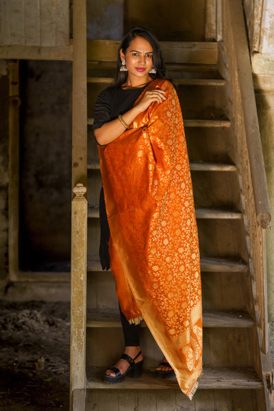 Unffold Silk Blended Orange & Gold beautiful designed work Dupatta(36 inches) for Women - Flower Design