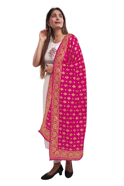 Unffold Silk Blended Magenta Golden beautiful designed work Dupatta (24 inches) for Women