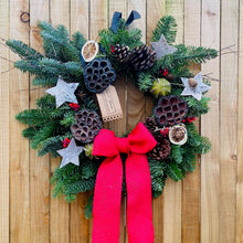 Load image into Gallery viewer, Red Ribbon & Noble Fir Christmas Wreath