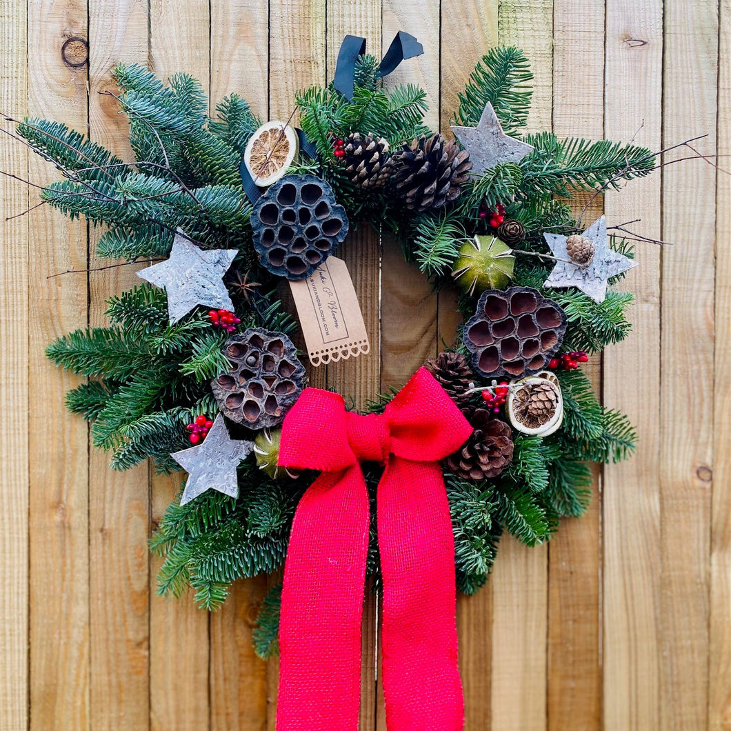 Red Ribbon & Noble Fir Christmas Wreath