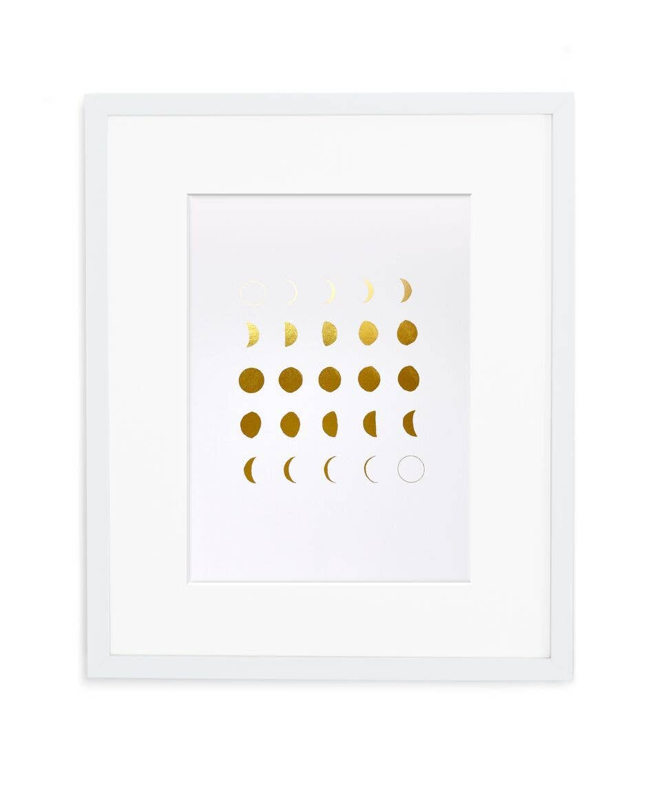 MOON PHASES PRINT GOLD & WHITE