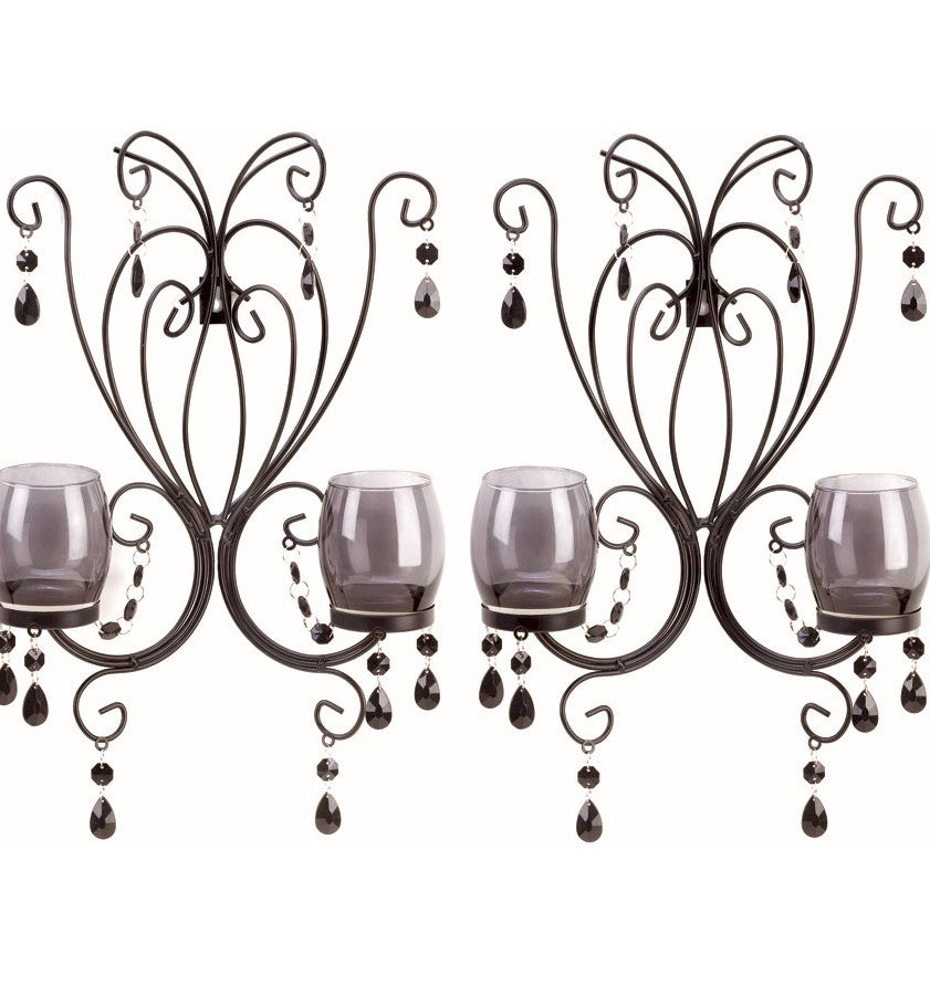 Midnight Elegance Smoked Glass Wall Sconce