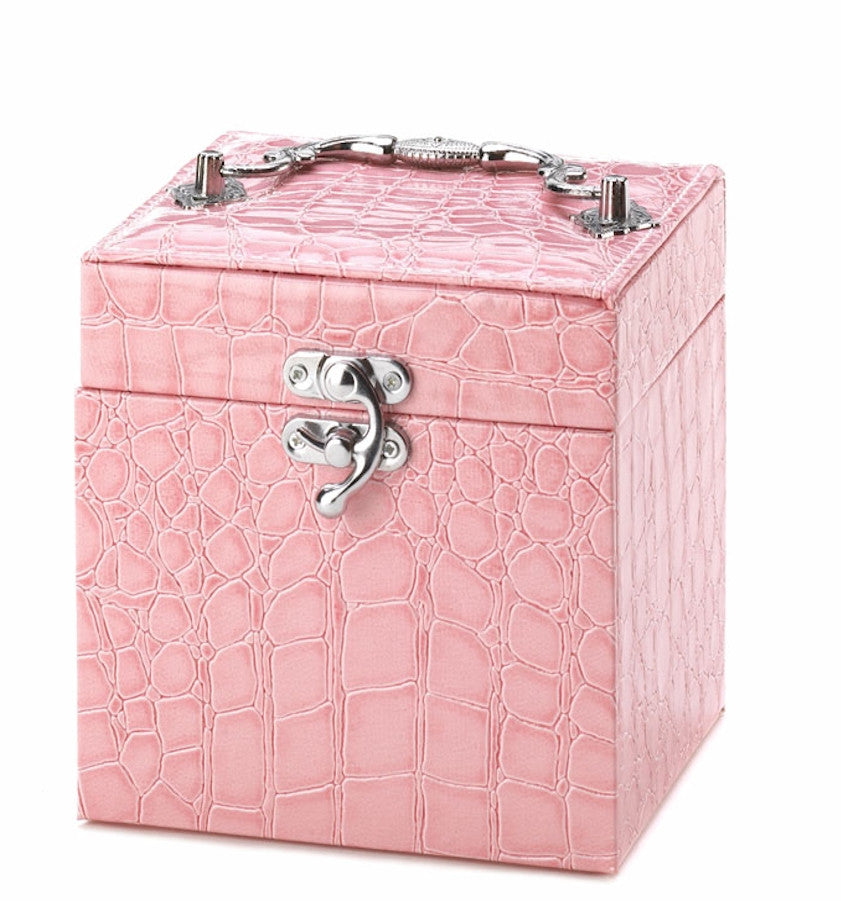 Pink Faux Snakeskin Jewelry Box