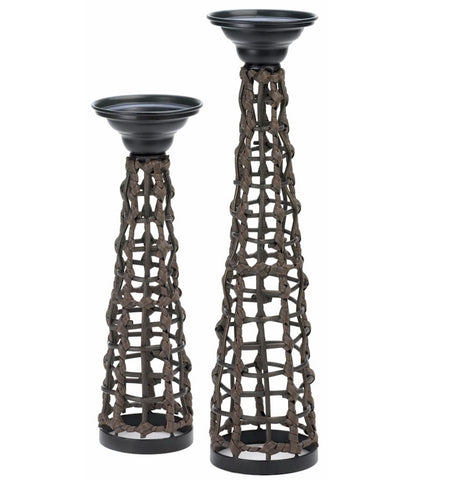 Knotted Rattan Candleholder