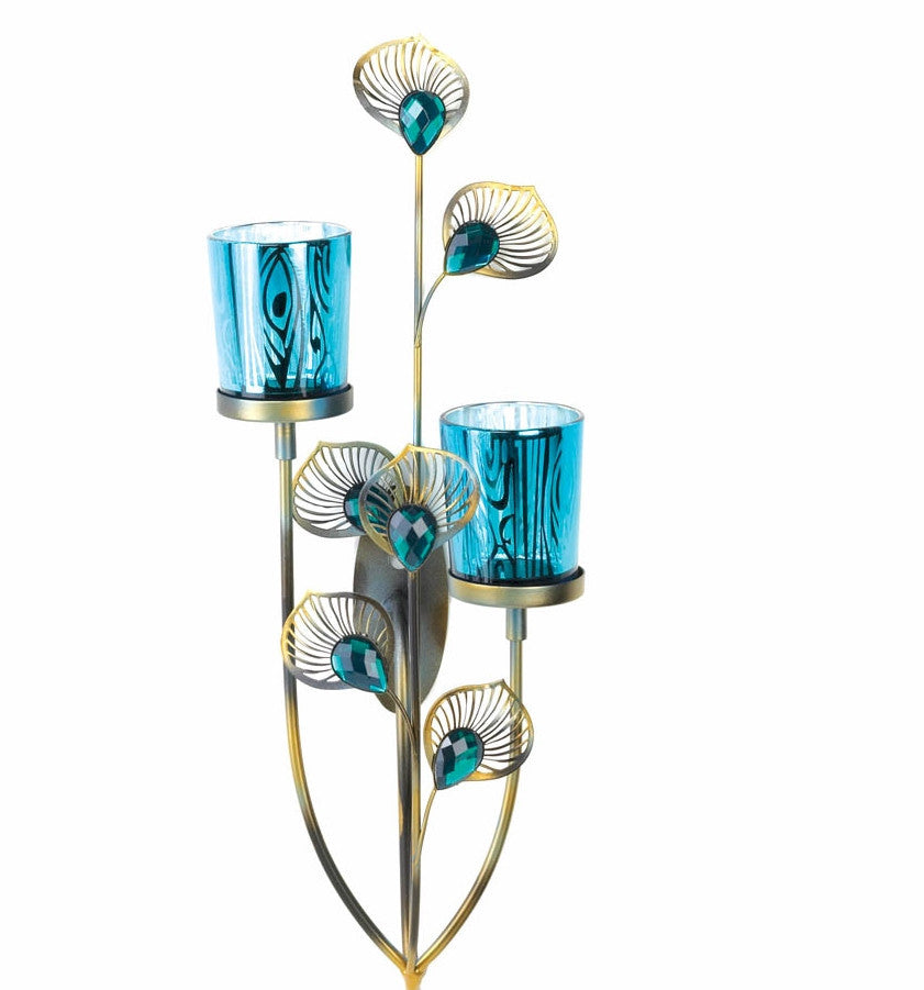 Peacock Plumes Wall Sconce Candleholder
