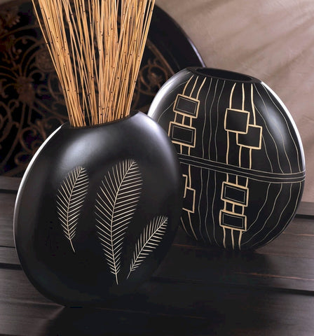Geometric Wood Tribal Vase