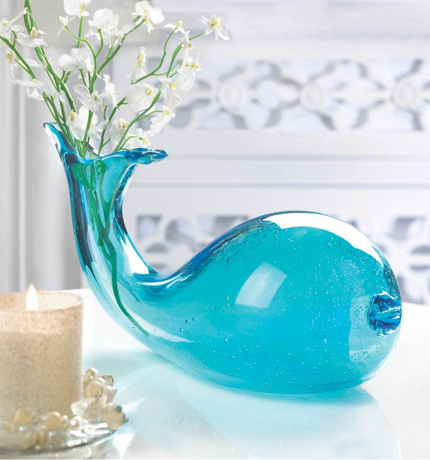Blue Whale Glass Vase