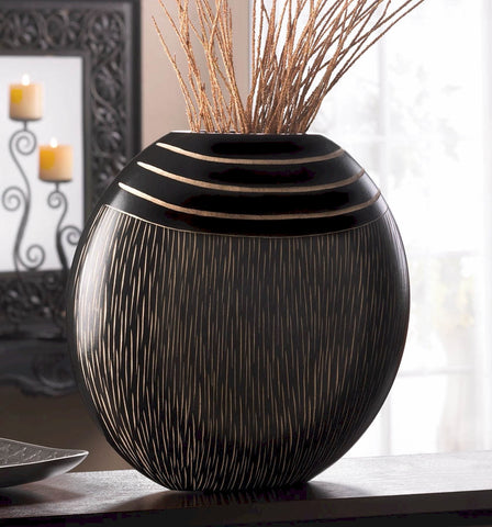 Stripes Wood Tribal Vase