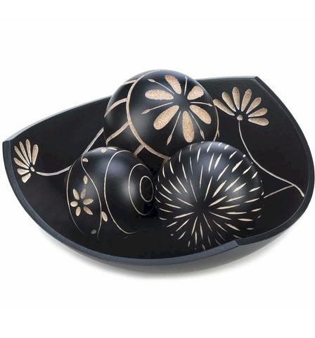 Tri Corner Decorative Bowl & Ball Set