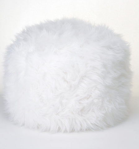 White Long Haired Pouf