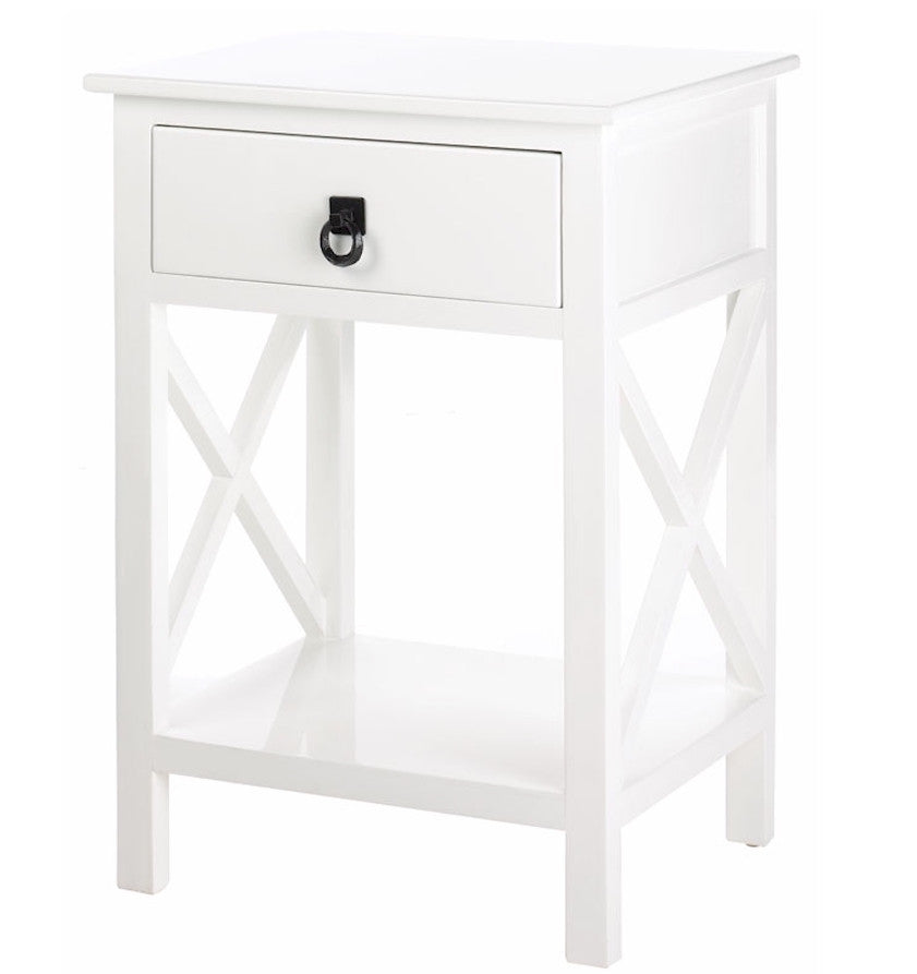 White Gloss End Table